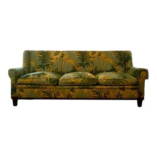Vintage Linen Sofa with Down Cushions For Sale