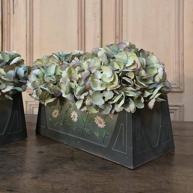 Pair French Art Deco Painted Jardinieres / Planter Boxes For Sale - Image 11 of 13