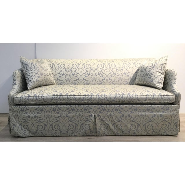 Hickory Chair Traditional Blue and Silver Damask Sateen Skirted Sofa For Sale In Atlanta - Image 6 of 6