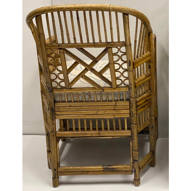 Pair of Chinese Chippendale Style Brighton Bamboo Chairs For Sale - Image 4 of 7