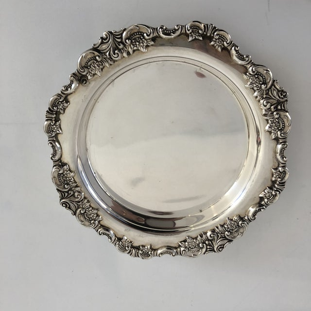 """1960s Vintage Silver Plate """"Baroque by Wallace """" Wine Coaster For Sale - Image 5 of 7"""