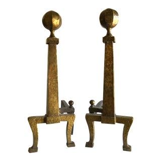 Mid-Century Brass Andirons
