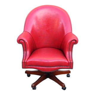 Vintage Red Leather Office Chair For Sale