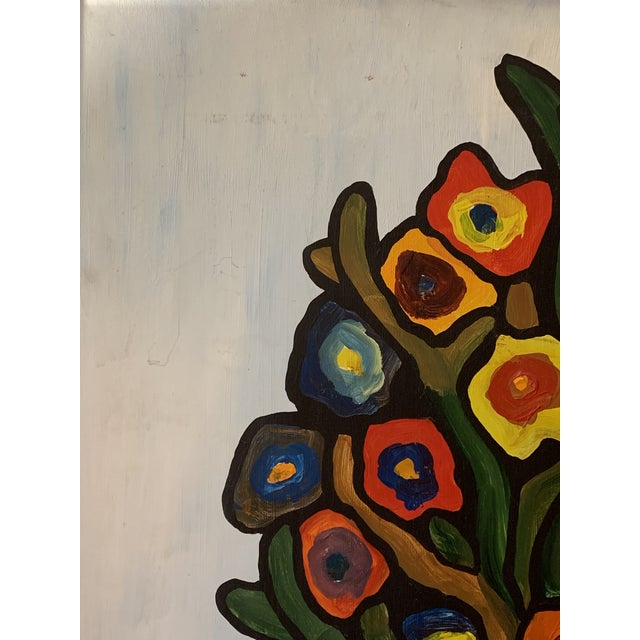 Vintage 1970's Abstract Original Flowers Oil Painting Signed Hawthorne For Sale - Image 4 of 10