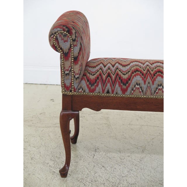 Newly upholstered Queen Anne mahogany window bench. Made in the 2000s