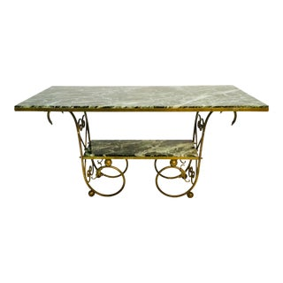 19th Century French Marble and Brass Two-Tier Table For Sale