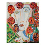 """Image of """"Flower Girl"""" Contemporary Abstract Portrait Mixed-Media Painting by Monica Shulman For Sale"""
