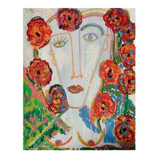 """""""Flower Girl"""" Contemporary Abstract Portrait Mixed-Media Painting by Monica Shulman"""