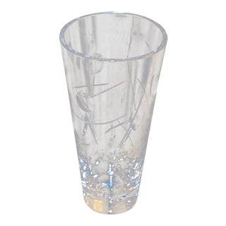 Royal Doulton Cut Crystal Vase With Bubbles and Etching, England For Sale