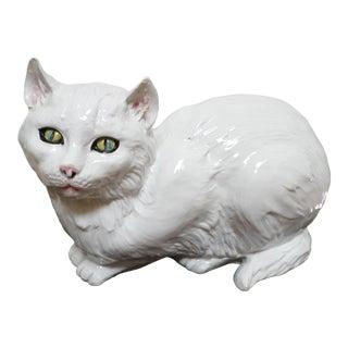 Italian Glazed Ceramic White Cat, Probably 60's For Sale