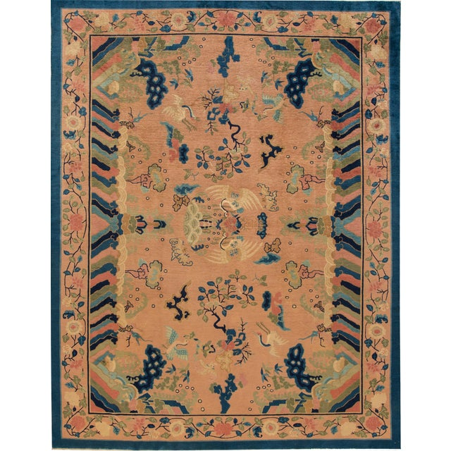 Antique Peach Peking Chinese Room Size Wool Rug 9 Ft X 11 Ft 9 In. For Sale - Image 11 of 11