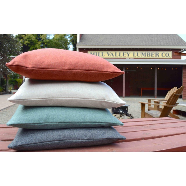 FirmaMenta Italian Solid Sage Green Sustainable Wool Pillow For Sale - Image 4 of 9