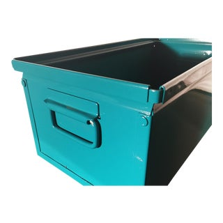 1940s Industrial Storage Bin, Refinished in Teal