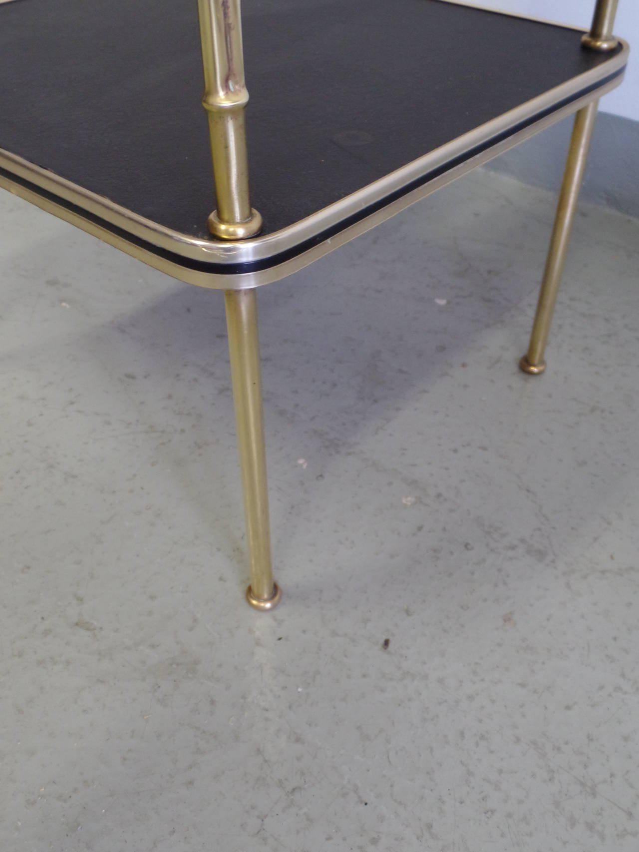 Gold Pair French Faux Bamboo And Leather Side Tables / Nightstands By  Jacques Adnet For Sale