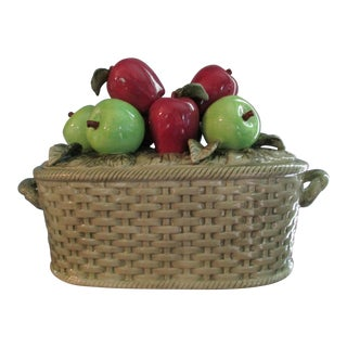 Ceramic Fruit Basket Adorned With Apples