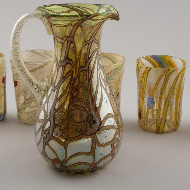 Gold Contemporary Silver and Gold Murano Glass Pitcher with Six Glasses - Set of 7 For Sale - Image 8 of 10