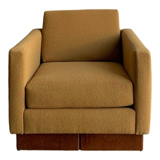 1960s Club Chair in Mustard Boucle For Sale
