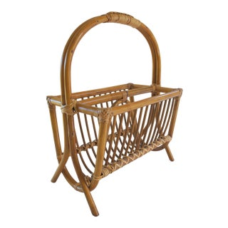 Vintage 1970s Rattan Bamboo Cane Magazine Rack For Sale