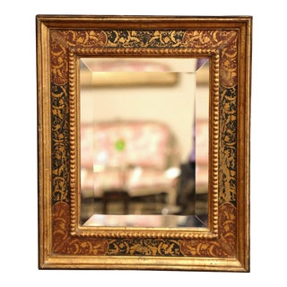 Early 20th Century Italian Gilt Wood Wall Mirror With Hand Painted Motifs For Sale