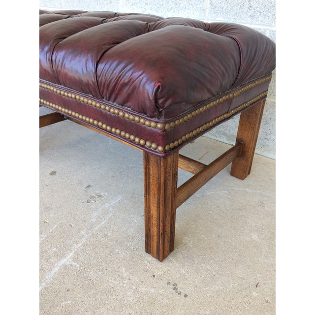 Chippindale Style Stretcher Base Oxblood Footstools A Pair - Image 8 of 9