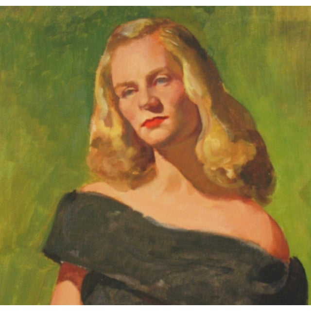 Mid-Century Lady with Golden Hair Oil Portrait - Image 5 of 7