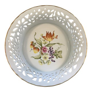 Hollohaza of Hungary Reticulated Pierced Porcelain Serving Dish For Sale