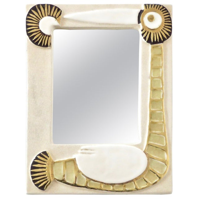 Cream French Francois Lembo Ceramic Wall Mirror For Sale - Image 8 of 8