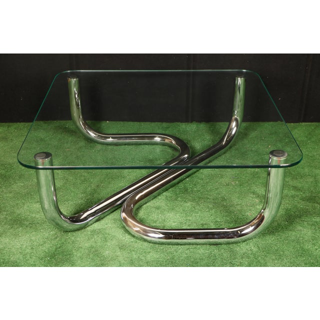 Modern Chrome Tubular Coffee Table - Image 3 of 11
