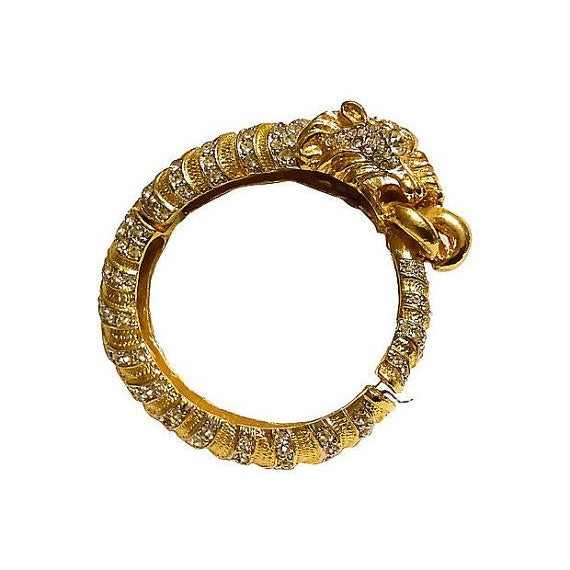 Kenneth Lane Swarovski Lion Clamper Bangle For Sale