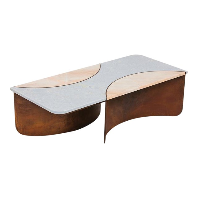 Contemporary Oxidized Steel Crescent Table With Blue and Pink Marble Insets For Sale