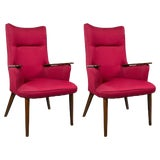 Image of Pair of High Back Mid-Century Modern Rosewood Armchairs Hans Wegner Style For Sale