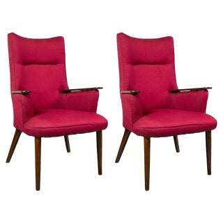 Pair of High Back Mid-Century Modern Rosewood Armchairs Hans Wegner Style For Sale