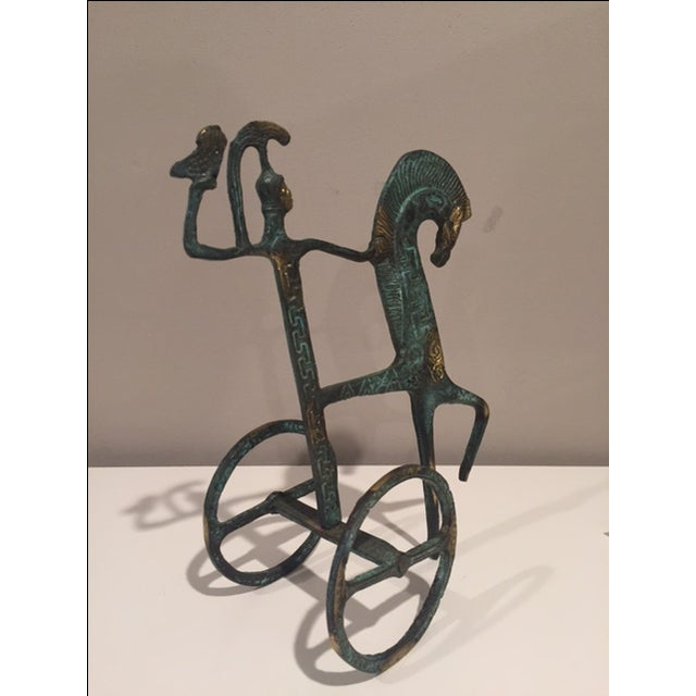 Antiqued Iron Horse & Chariot - Image 2 of 3
