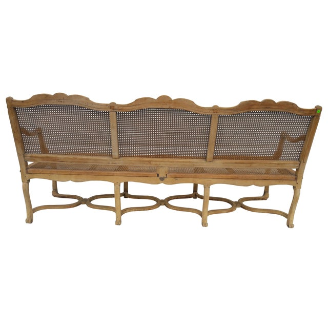 Antique French Caned Three Seat Louis XV Style Settee French Provincial Long Caned Canape For Sale - Image 4 of 13