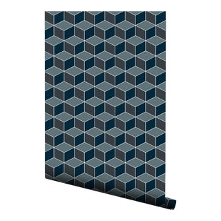 Navy Hexagon Tile Pre-Pasted Wallpaper