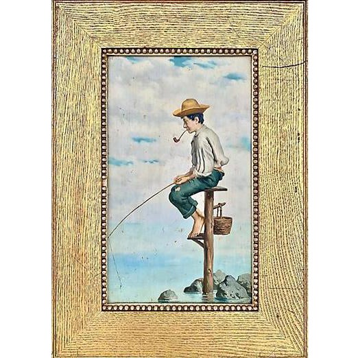 Young Man Fishing, Naples, 1880s For Sale