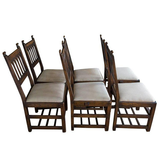 Set of Six Oak Gothic Revival Pew Chairs from Riverside Church - Image 3 of 11