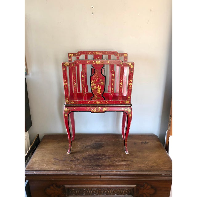 Early 20th Century French Chinoiserie Red Gold Lacquer Magazine Stand For Sale - Image 13 of 13