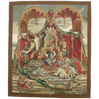 Authentic Decorative French Tapestry Wall Hanging 7'9'' X 6'9'' For Sale