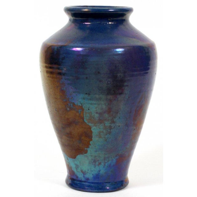 "For Pewabic, this is an exceptionally large vase (10"") that exemplifies the iridescent glaze that made the studio famous...."