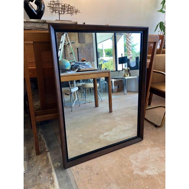 Wood Bassett Mid-Century Black & Walnut Mirror For Sale - Image 7 of 7