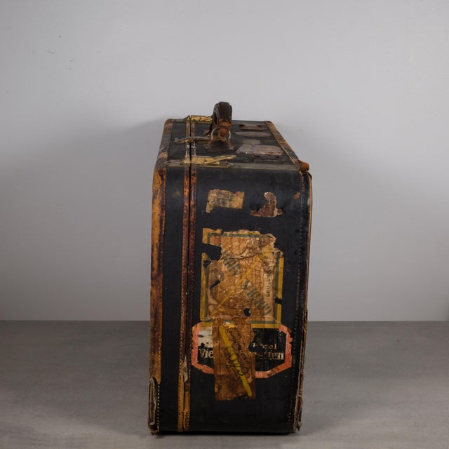 Antique Luggage With Original Travel Stickers C.1900-1930 For Sale - Image 4 of 11
