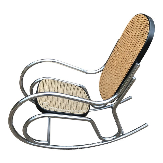Swell Mid Century Modern Chrome Cane Rocking Chair Gmtry Best Dining Table And Chair Ideas Images Gmtryco