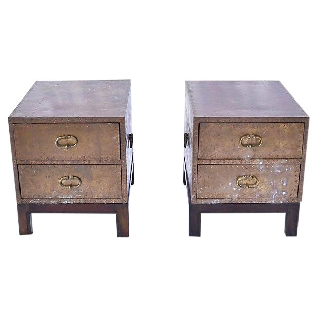 1970s Regency Brass 2-Drawer Chests - a Pair For Sale