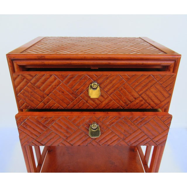 Gold C.1970s Vintage Chinoiserie Orange Lacquered Nightstand, Side/End Reading Table by Thomasville For Sale - Image 8 of 13