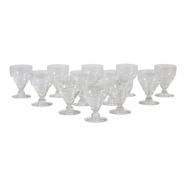Stuart English Crystal Armorial Crest Dragon Wine Sten Goblets - Join or Die Motto Set of 10 For Sale