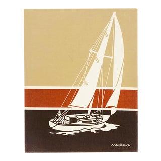 Vintage Marüshka Sailboat Screen Print For Sale