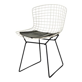 Original Mid Century 1950s Harry Bertoia for Knoll Black & White Wire Side Chair with Cushion