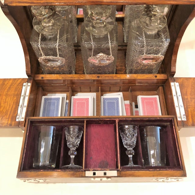 Antique English Games Box Tantalus with Sheffield Silver Mounts, Circa 1880. For Sale - Image 4 of 5