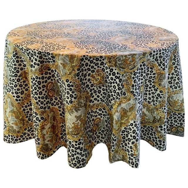 Mid 20th Century Round Leopard and Chinoiserie Tablecloth For Sale - Image 5 of 5